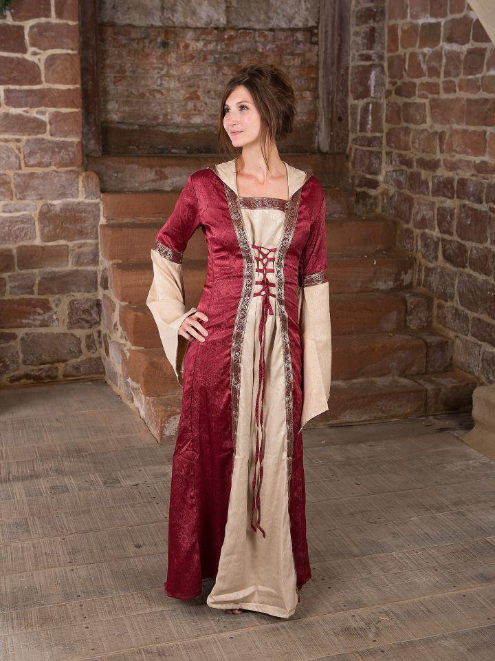 Mittelalterkleid mit Kapuze in rot-natur S/M 2