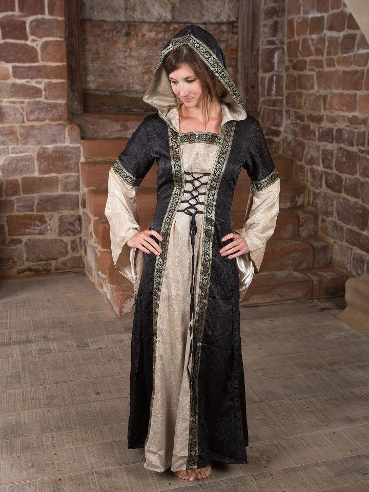 Mittelalterkleid mit Kapuze in schwarz-natur 2