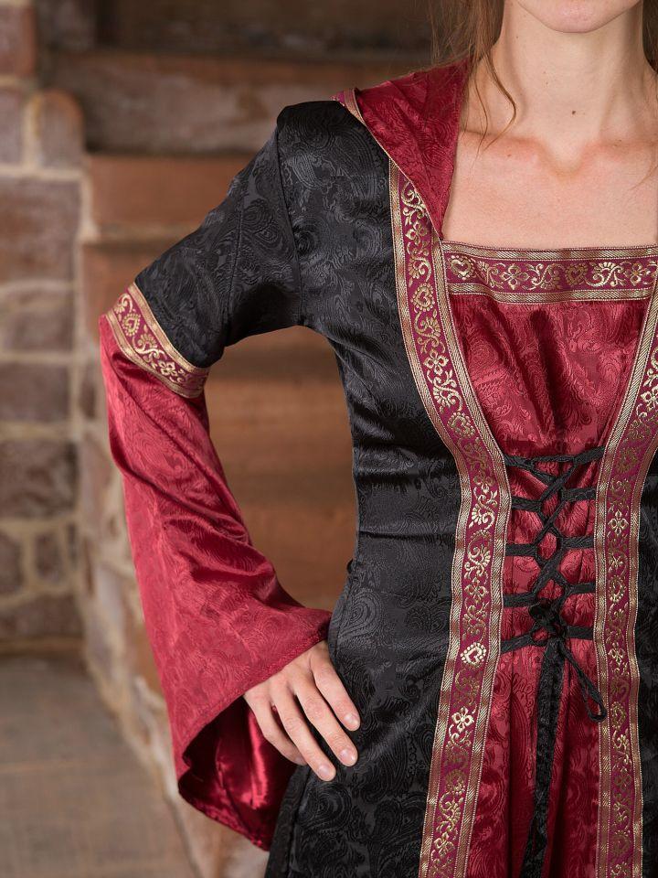 Mittelalterkleid mit Kapuze schwarz rot 2