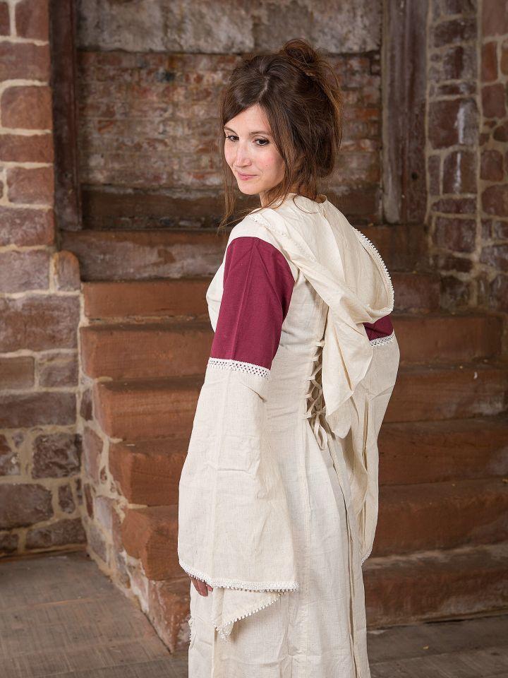 Kleid mit Kapuze - natur-bordeaux 2