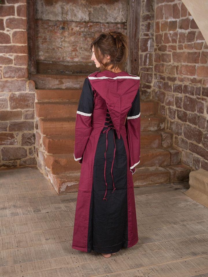 Kleid mit Kapuze - schwarz-bordeaux 2