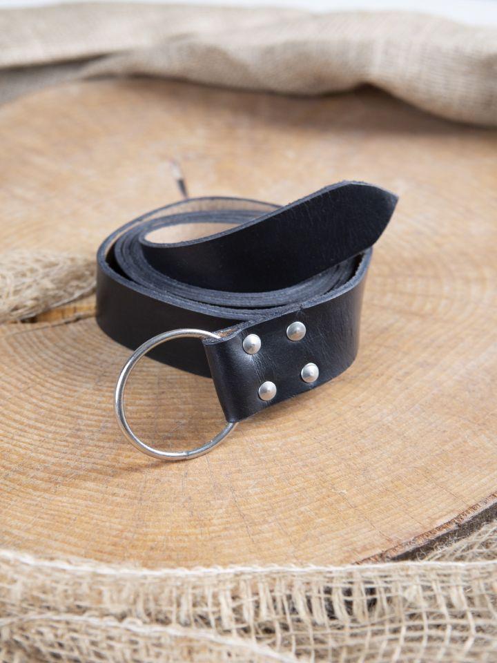 Stabiler Ringgürtel aus schwarzem Leder 150 cm 2