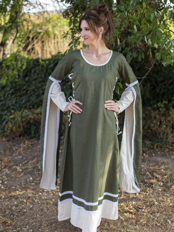 Mittelalterkleid mit Schleppärmeln grün-natur 2