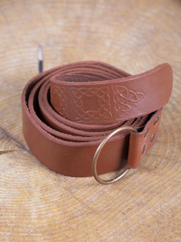 Ringgürtel mit Prägung braun 190 cm 2