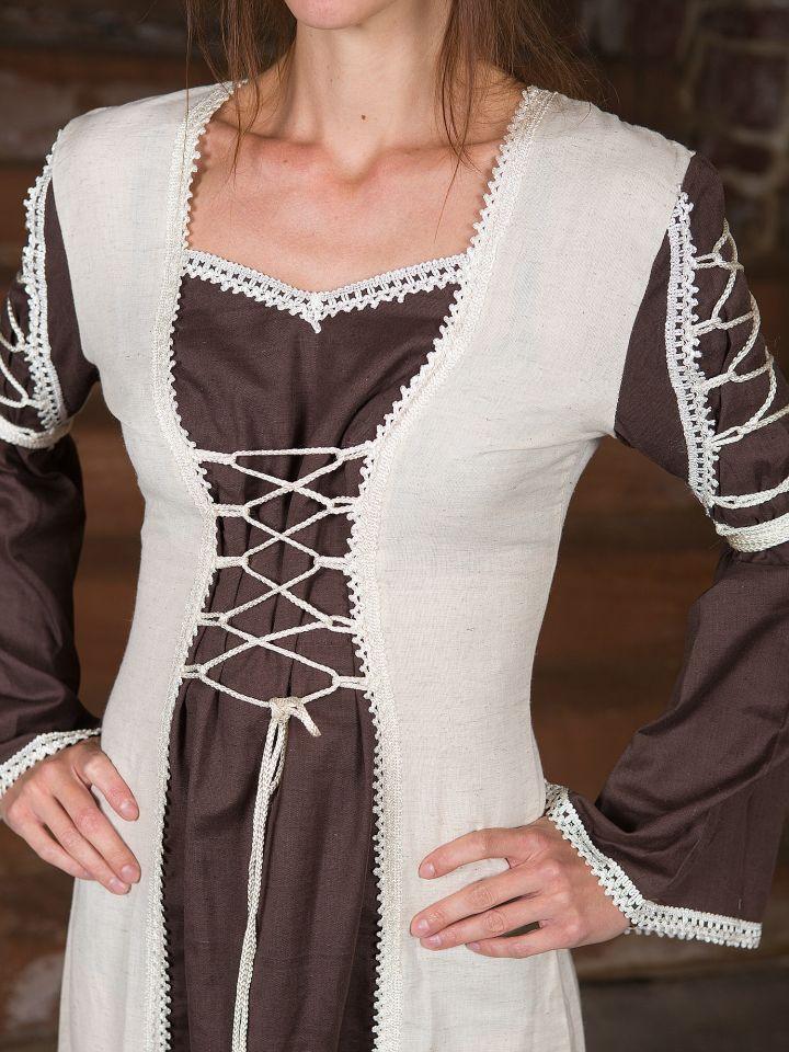 Mittelalterkleid Martha, braun-natur 2