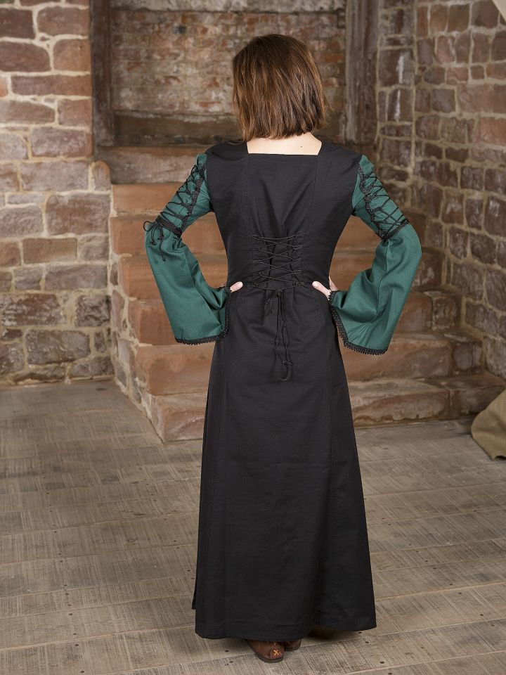 Mittelalterkleid Martha, schwarz-grün 2
