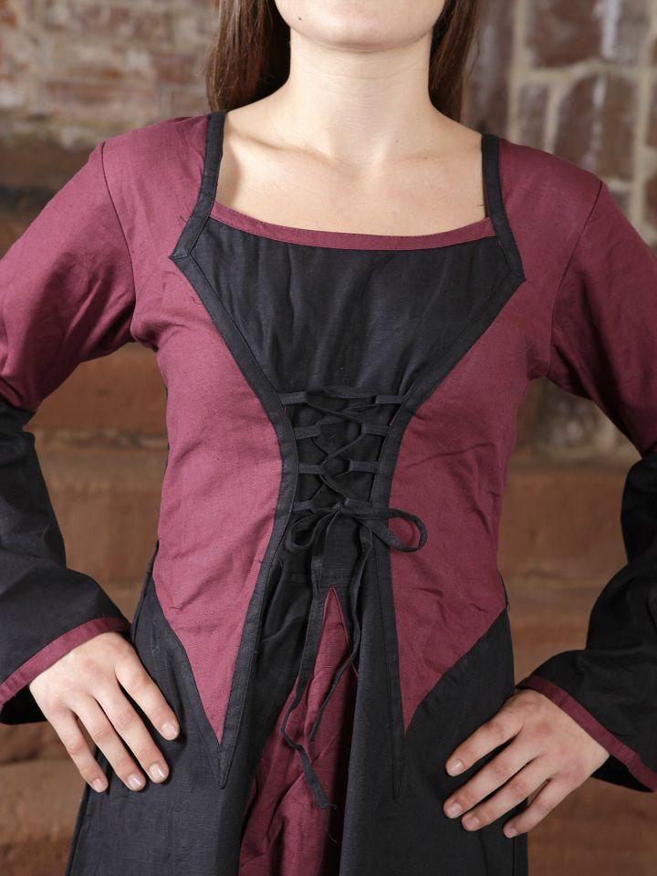 Kleid zweifarbig mit Schnürung in schwarz-bordeaux 2