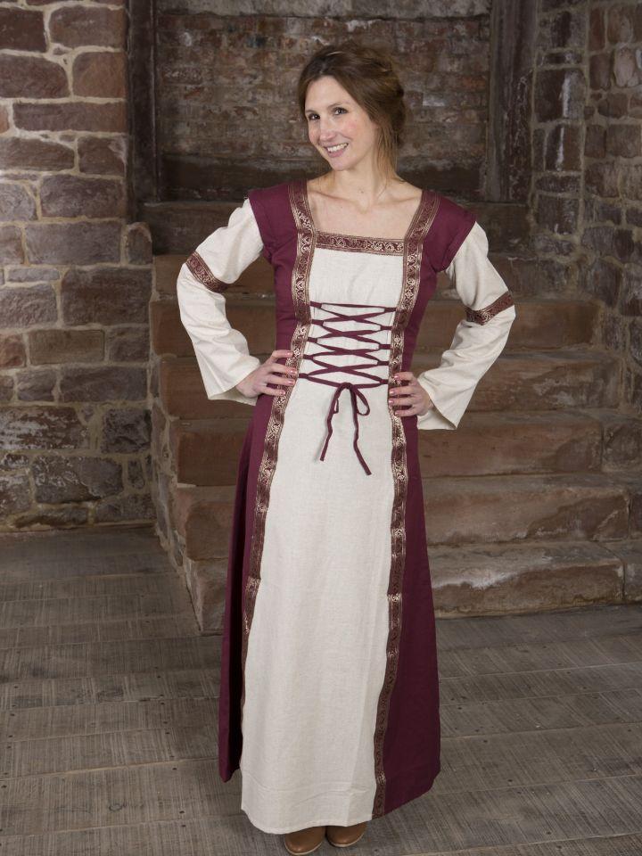 Mittelalterkleid mit abnehmbaren Ärmeln rot-natur 2