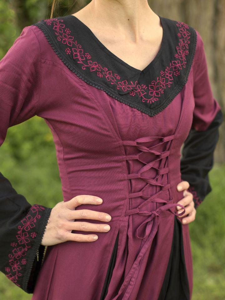 Mittelalterkleid mit Stickerei bordeaux-schwarz 2