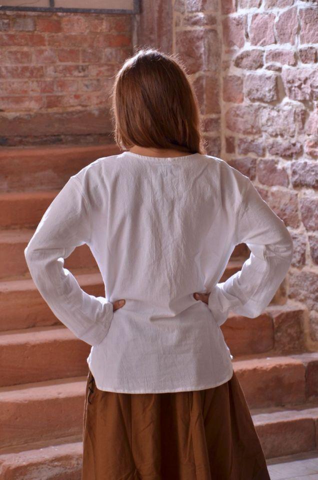 Bluse mit langen Ärmeln weiß M 2