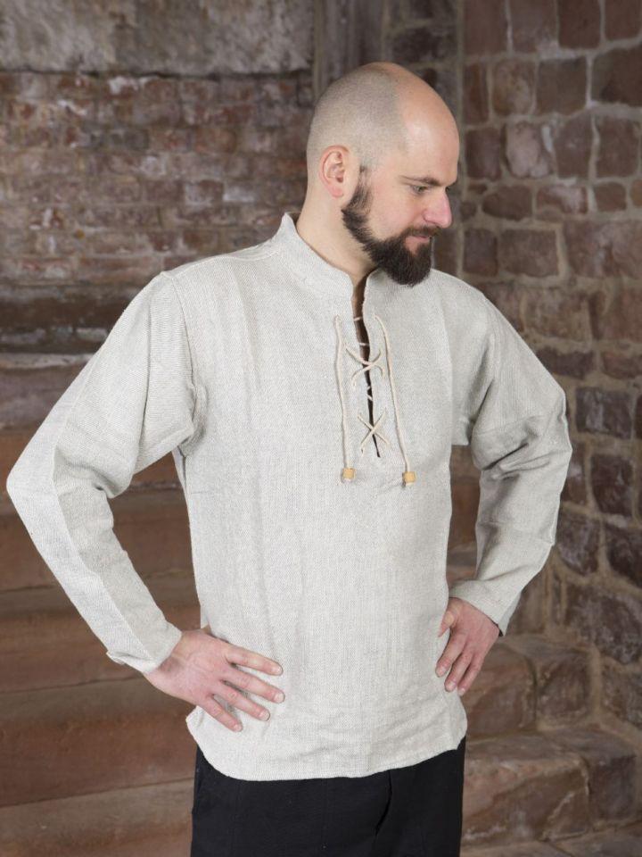 Winterhemd - Stehkragenhemd grau meliert M 2