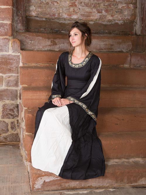 Edles Kleid mit Bordüre schwarz-natur 2
