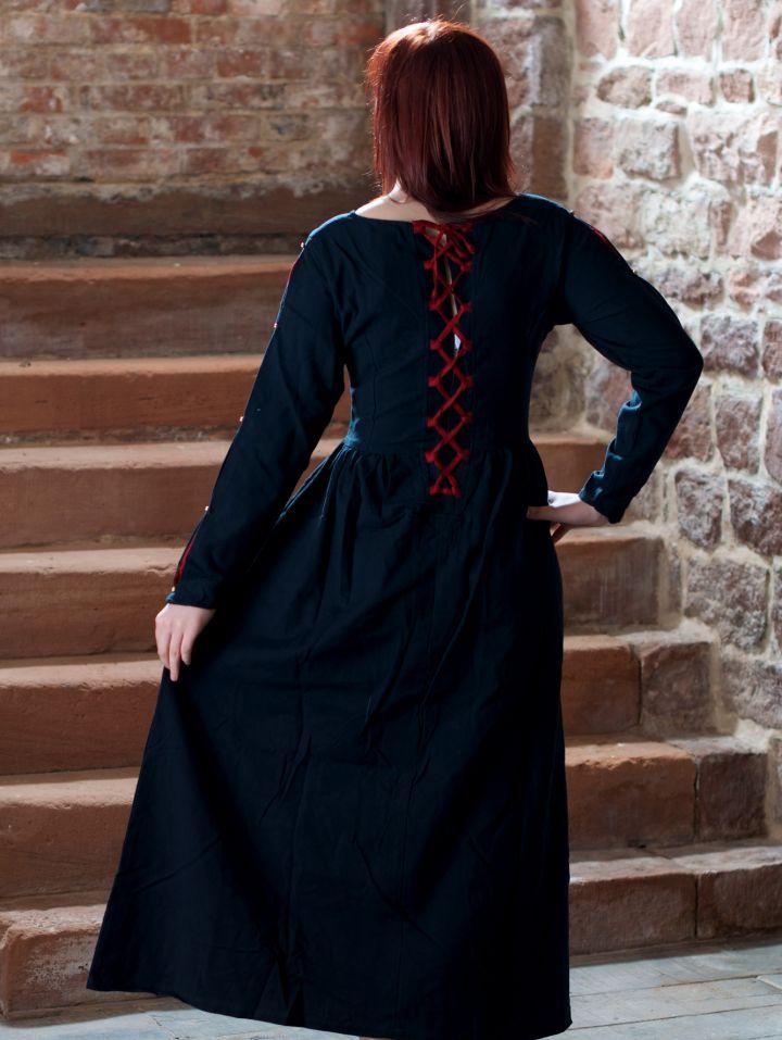 Mittelalterkleid aus Baumwolle schwarz-rot 2