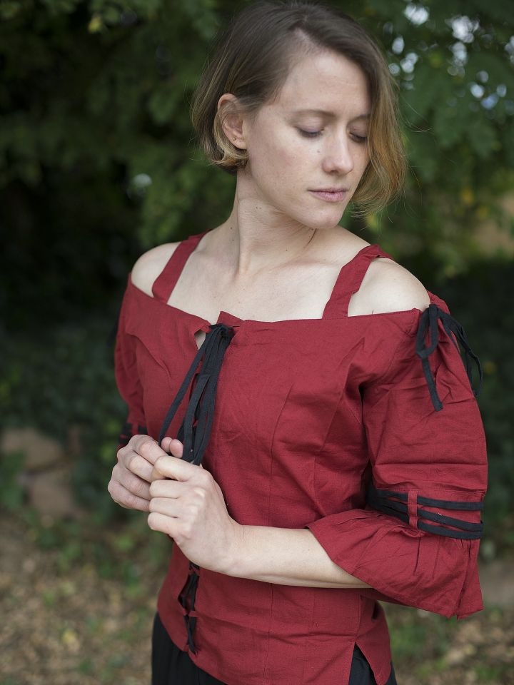 Bluse mit verstellbaren Trägern, rot-schwarz 2