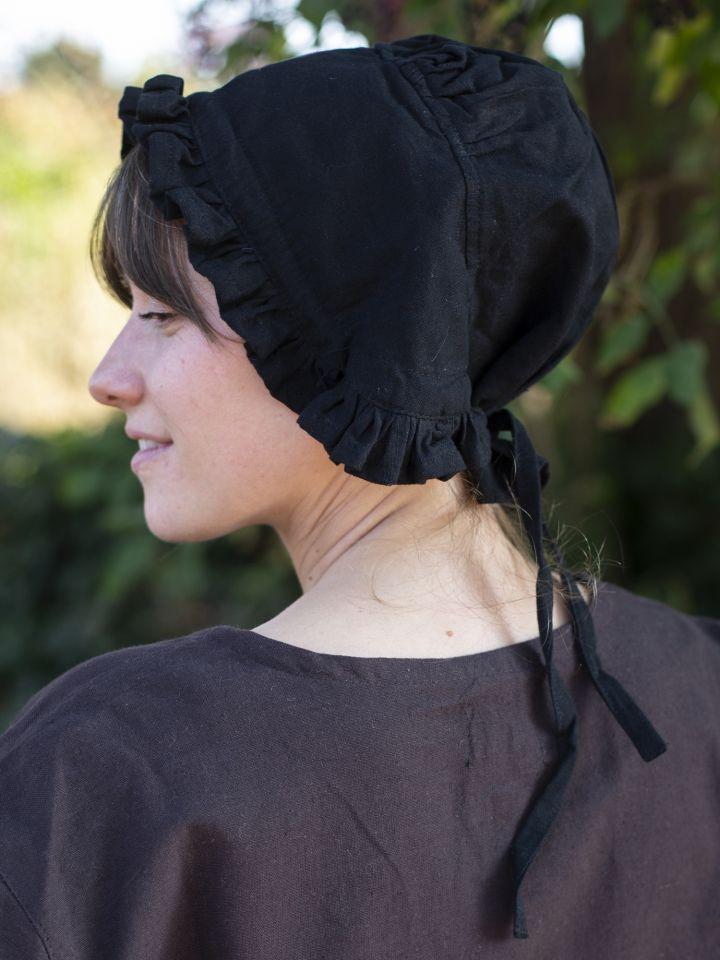 Damenhaube mit Rüsche schwarz 2