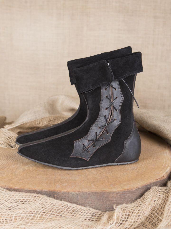 Mittelalter Stiefel mit Seitenschnürung schwarz 2
