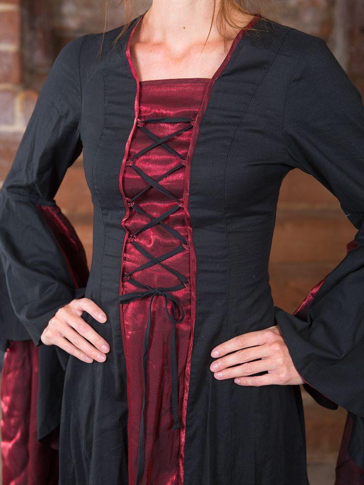 Mittelalterkleid Elisabeth in schwarz-rot 2