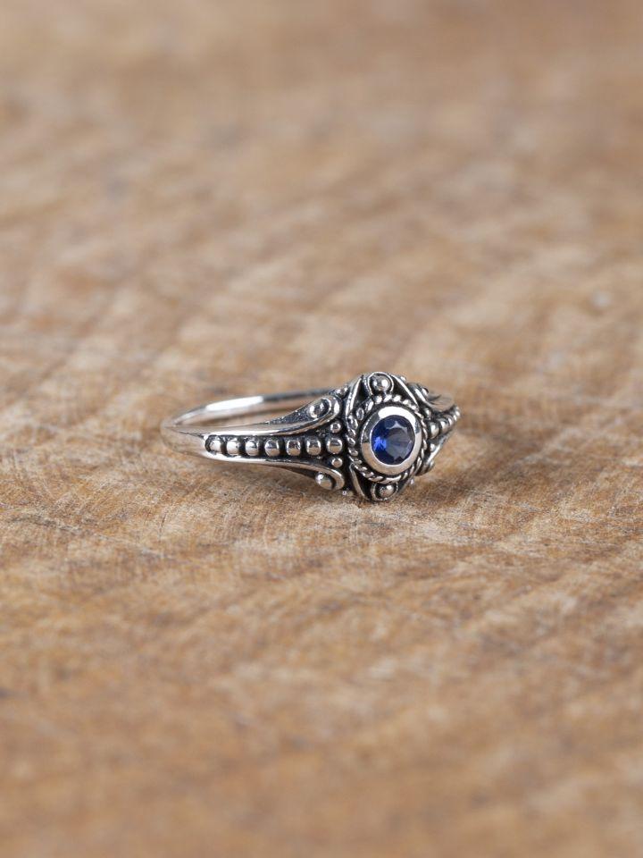 Wikinger-Silberring mit blauem Zirkonia 2