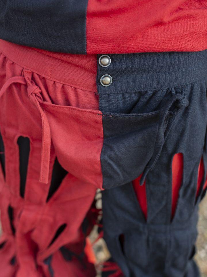 geschlitzte Landsknechthose schwarz-rot 2