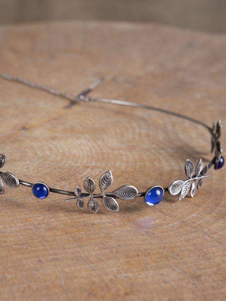 Diadem mit Zweigen und blauen Schmucksteinen 2