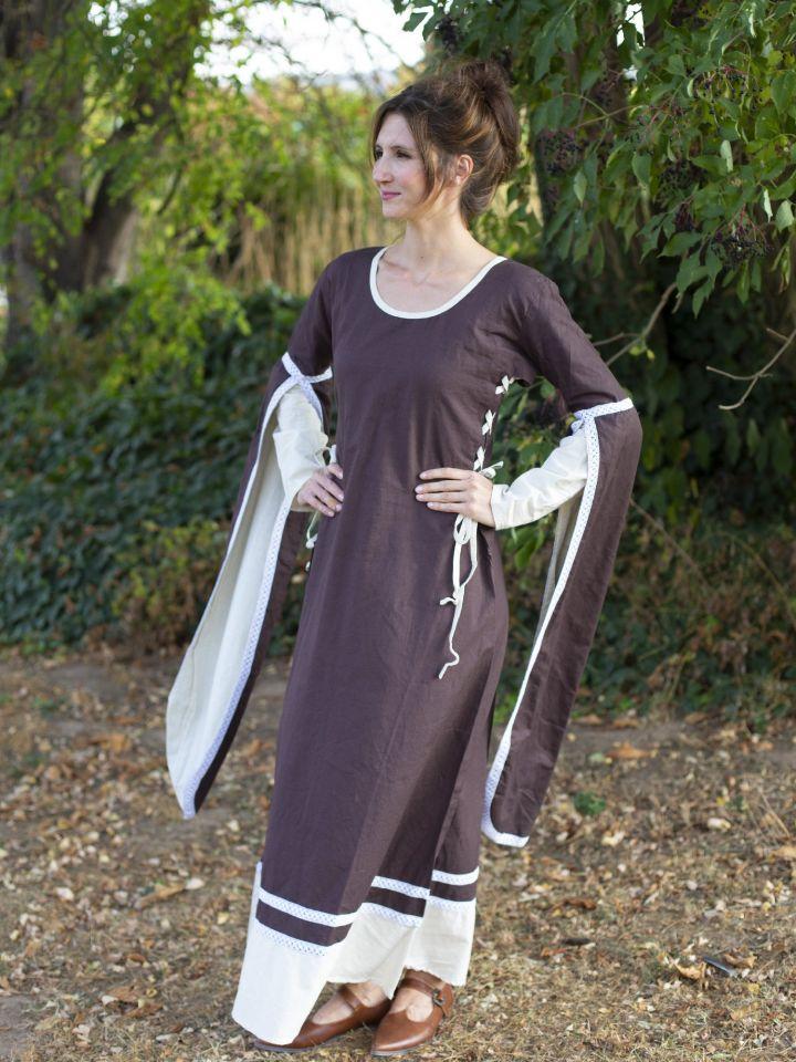 Mittelalterkleid mit Schleppärmeln braun-natur 2