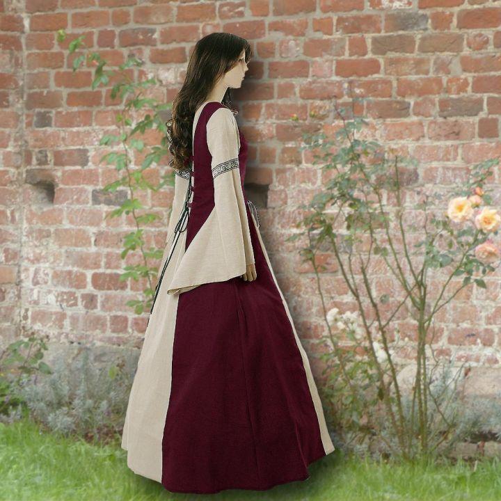 Kleid Elisabeth weinrot-sand 2