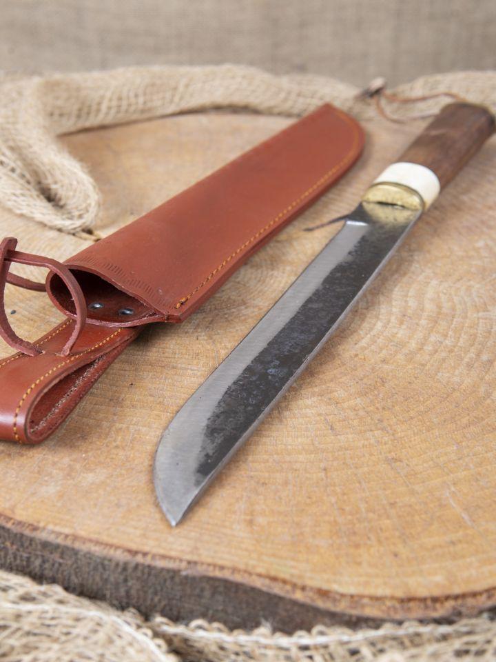 Messer mit Holzgriff u. Lederscheide 2