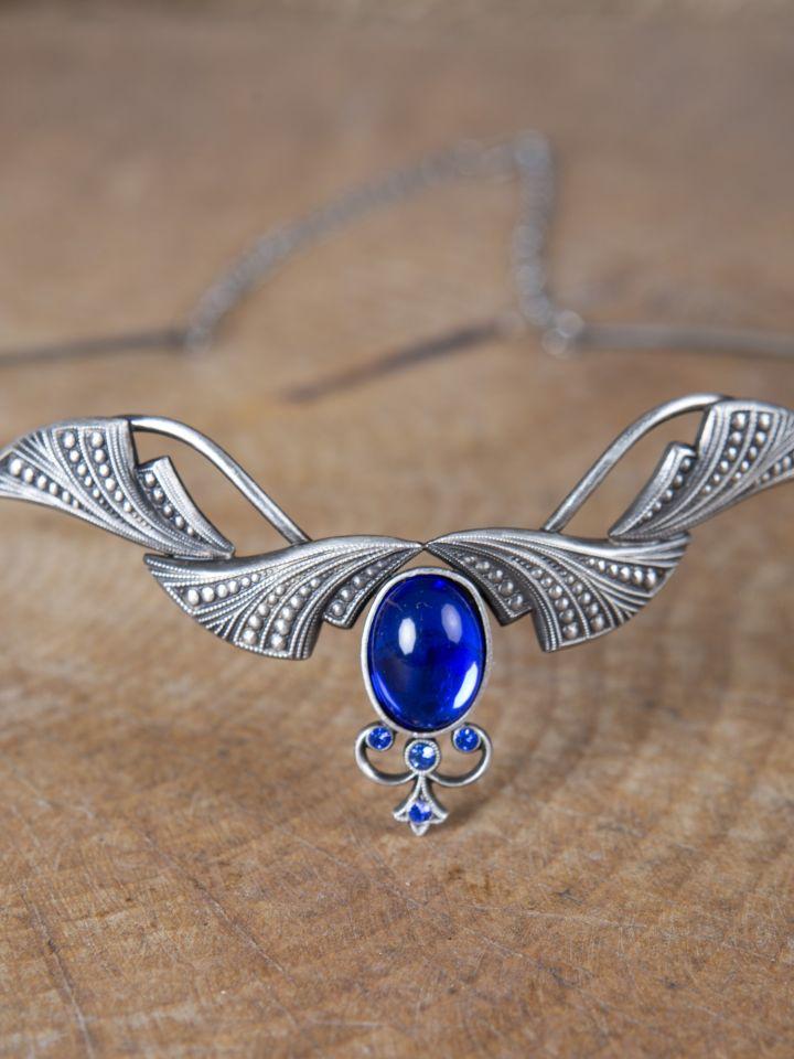 Edle Tiara mit Krönchen und blauem Stein 2