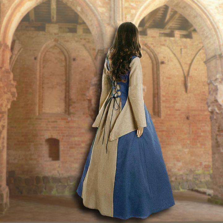 Kleid Fabienne hellblau-sand 2