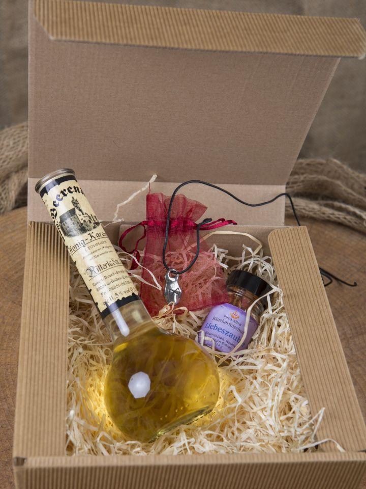 """Geschenkbox """"Liebesgrüße"""" mit Honig-Karamell-Wein klein 2"""