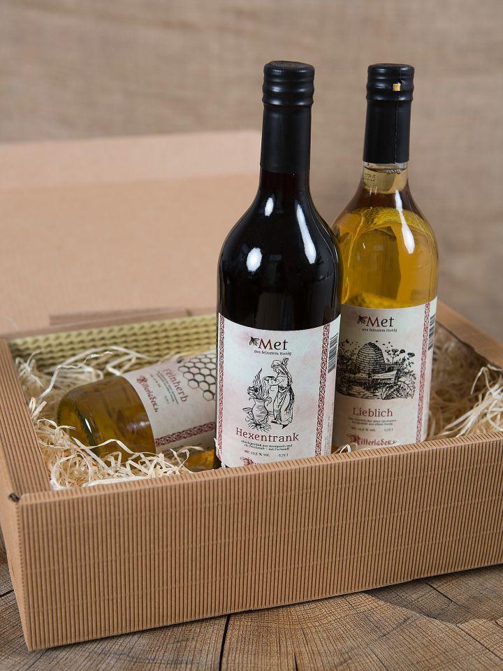 Geschenkbox mit 3 Flaschen Met 2