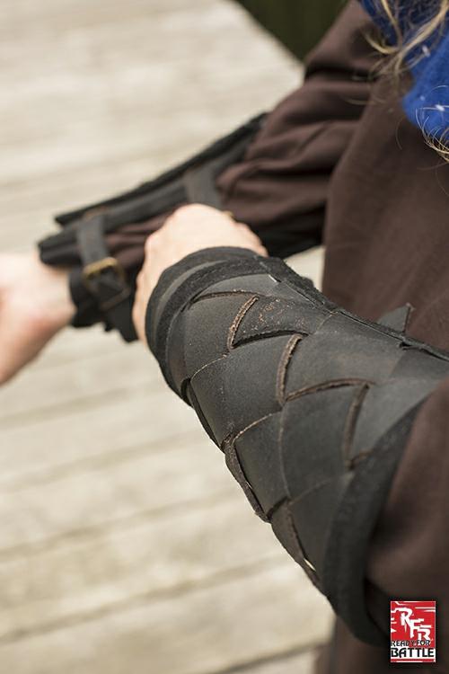 Wikinger-Armschienen aus Leder schwarz 2