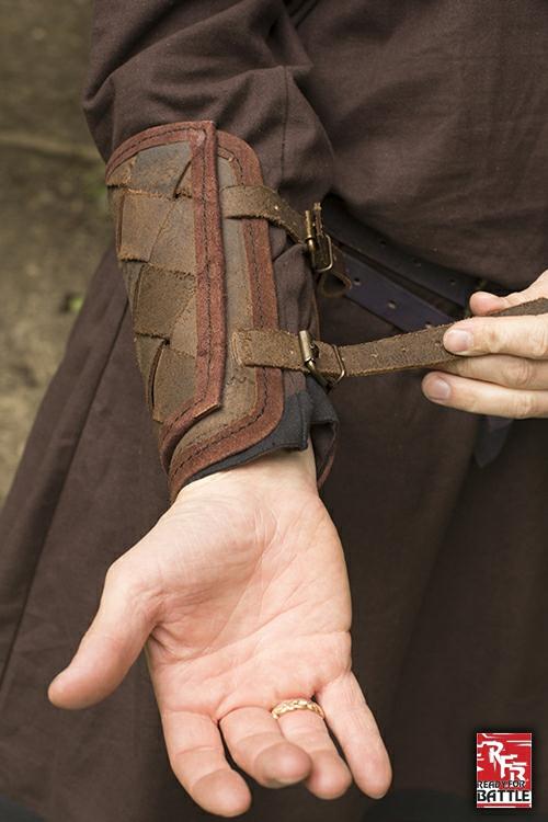 Wikinger-Armschienen aus Leder braun 2