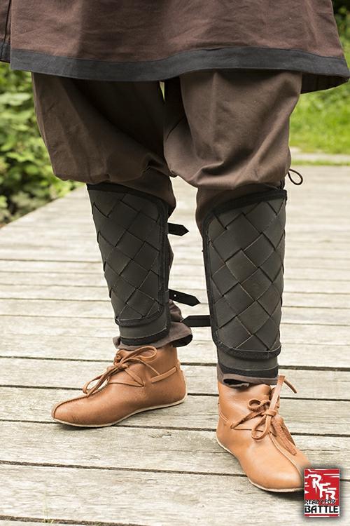 Wikinger-Beinschienen aus Leder schwarz 2
