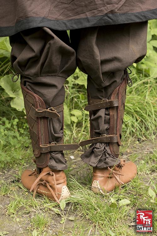 Wikinger-Beinschienen aus Leder braun 2