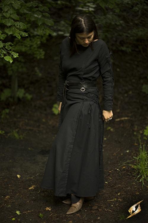 Kleid mit Schnürung schwarz 2