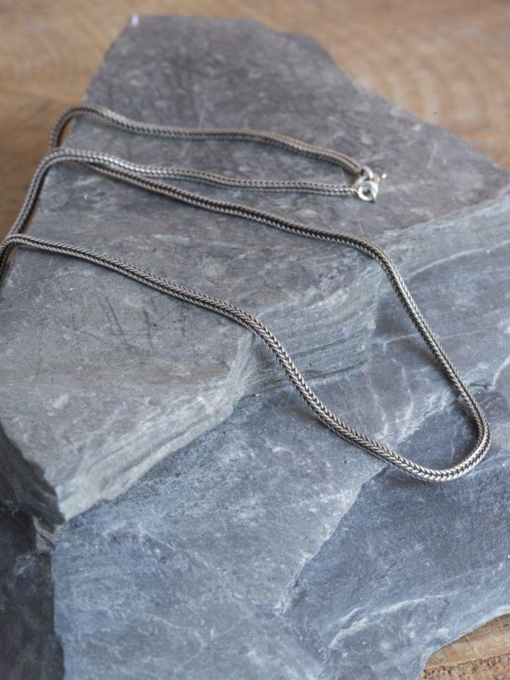 Geflochtene Silberkette 51 cm 2
