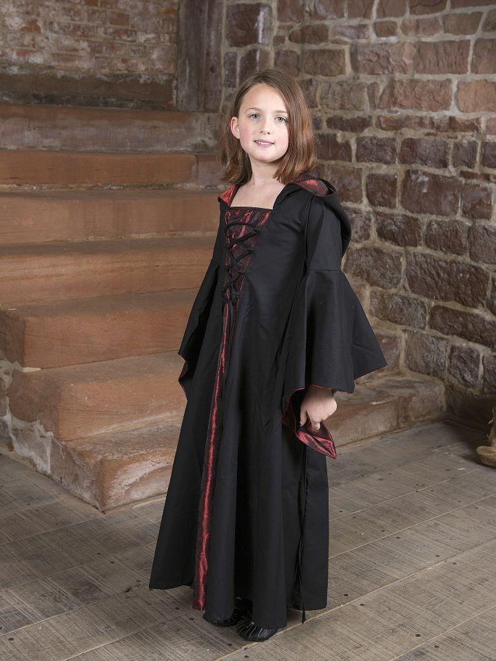 Kinderkleid Gretlin schwarz-rot 2