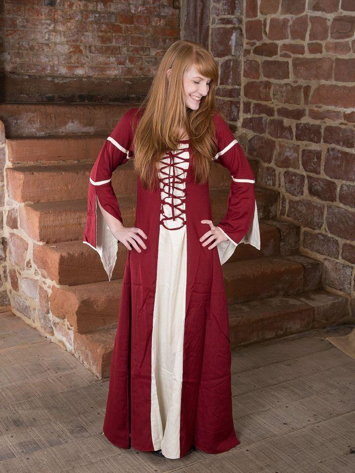 Kleid mit Trompetenärmeln, natur-rot 2