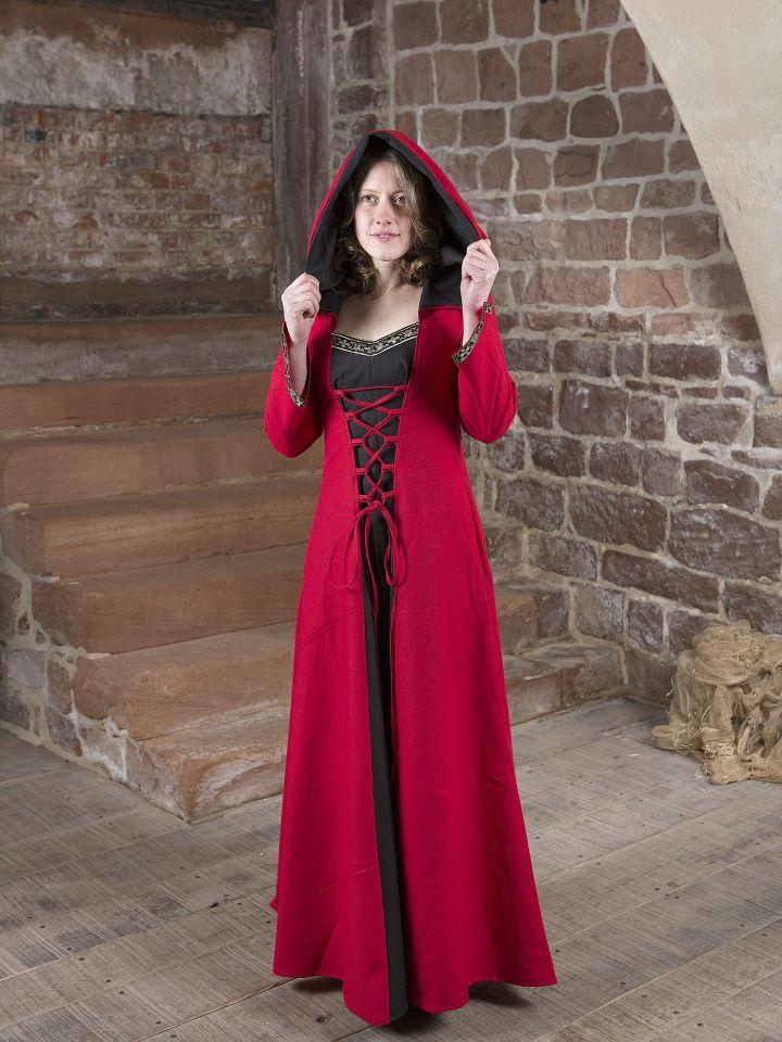 Mittelalterkleid Gwenhwyfar schwarz-rot 2