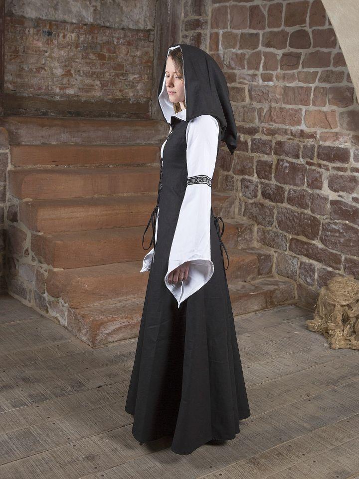 Mittelalterkleid Irmel in schwarz-weiß 2