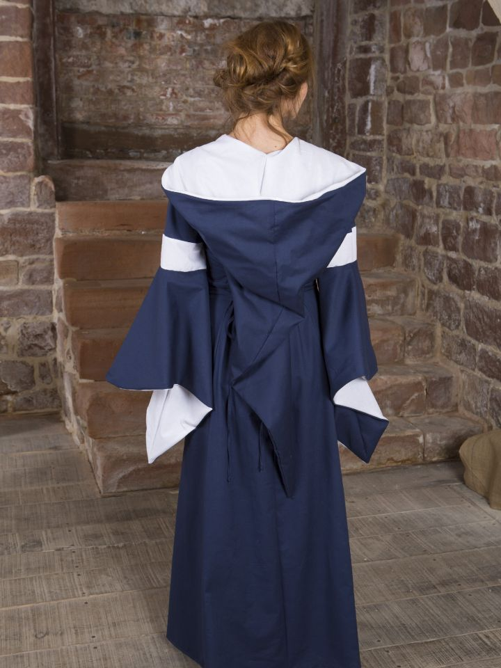 Baumwollkleid Minna blau-weiß 2