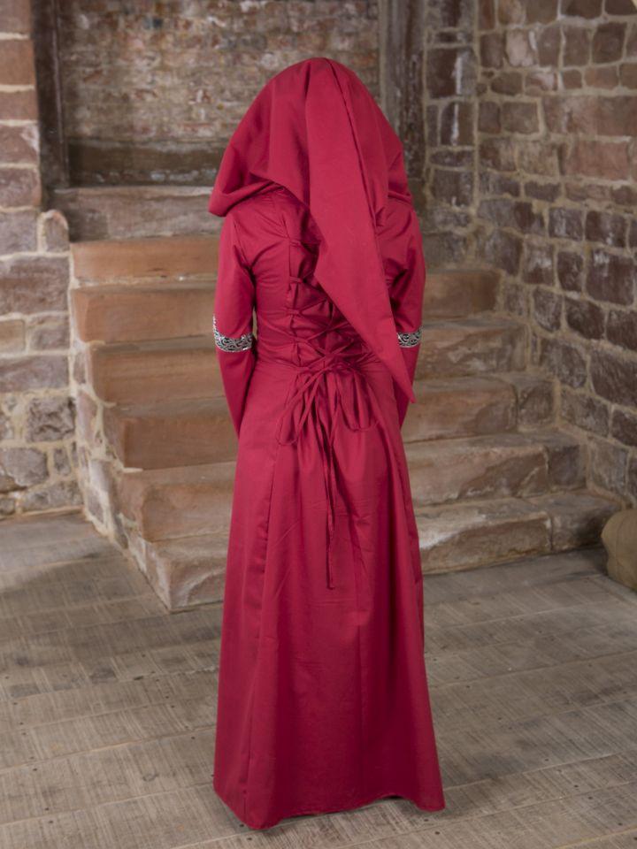 Mittelalterkleid Helena schwarz-rot 2