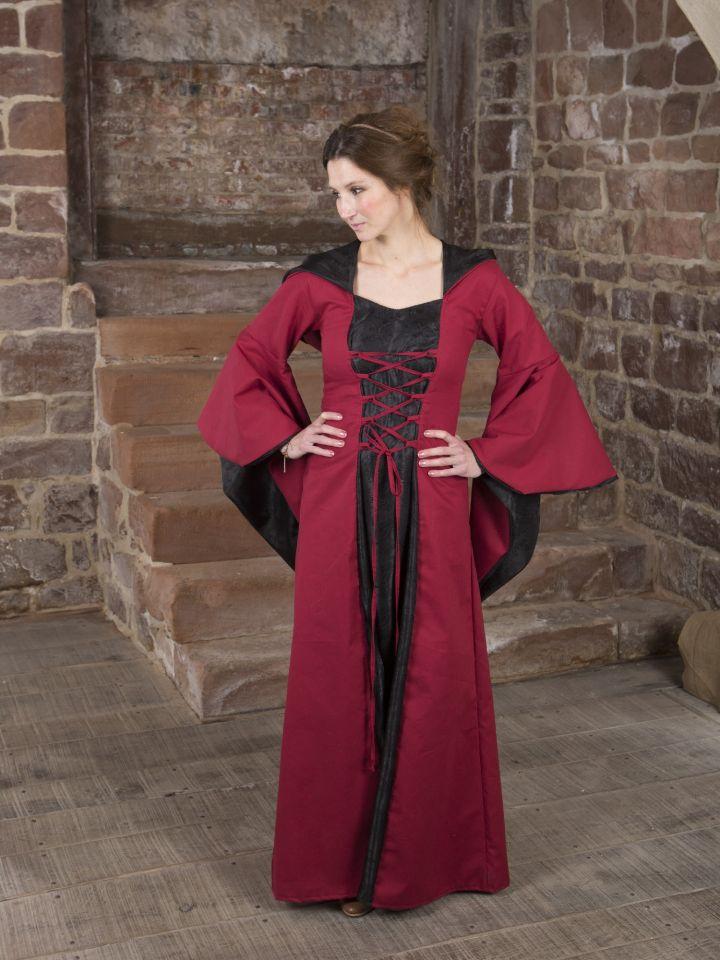 Mittelalterkleid Evanna schwarz-rot 2