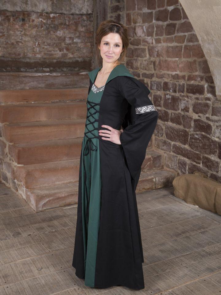 Mittelalterkleid Helena schwarz-grün 2