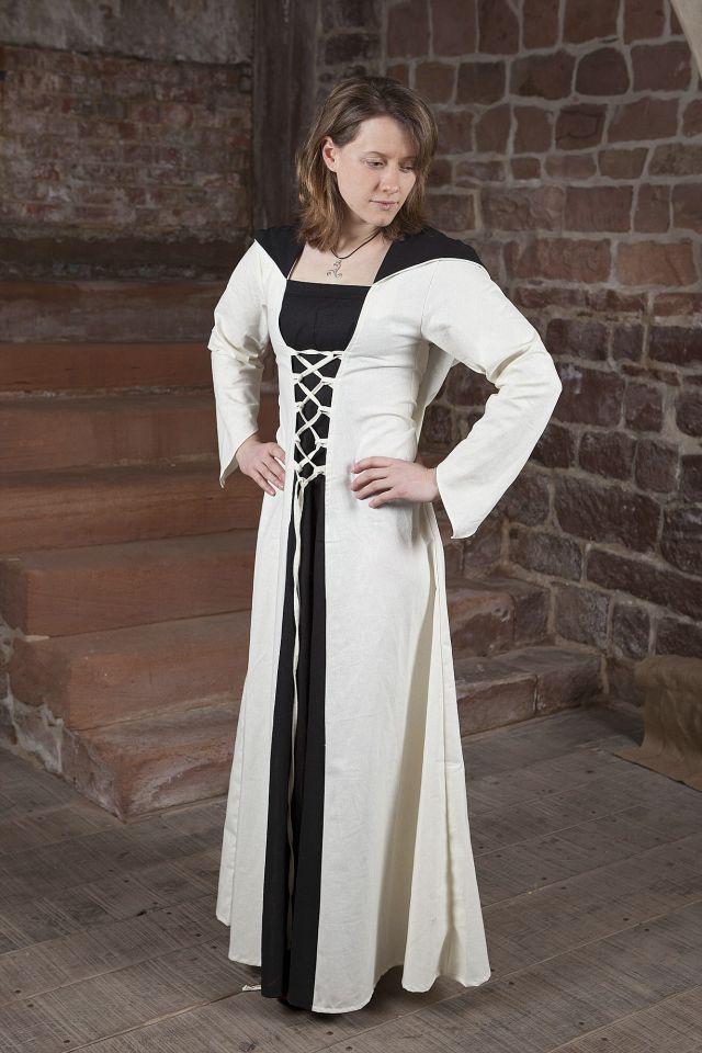 Mittelalterkleid Luna weiß mit schwarzem Mittelteil 2