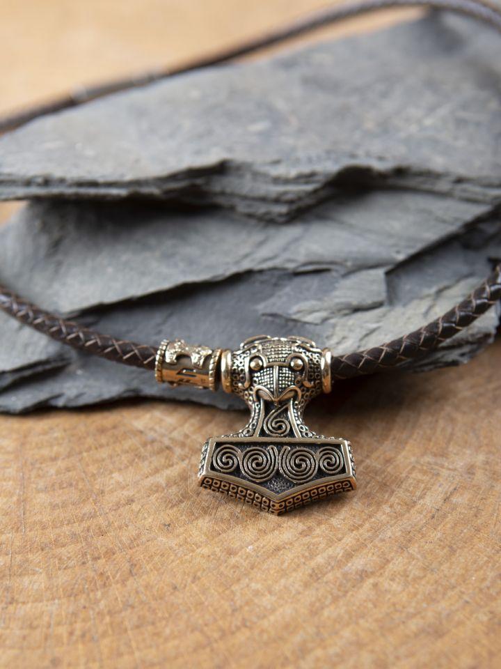 Braunes Ledercollier mit Schonenhammer aus Bronze 2