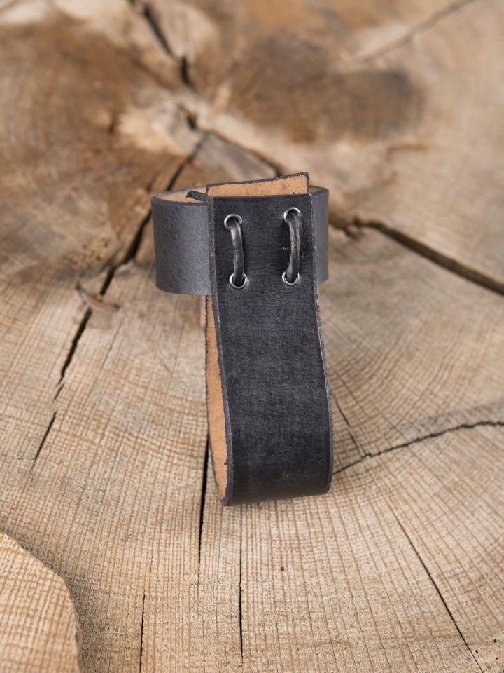Trinkhornhalter aus Leder schwarz 2