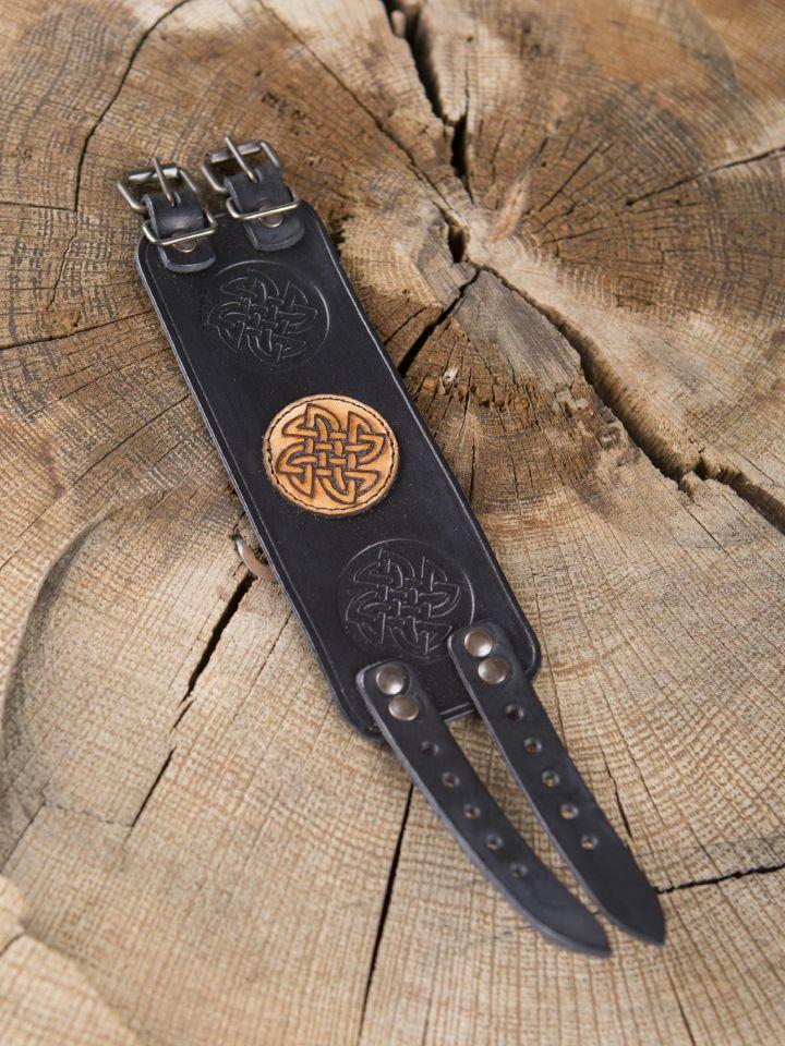 Lederarmband Keltischer Knoten schwarz 2