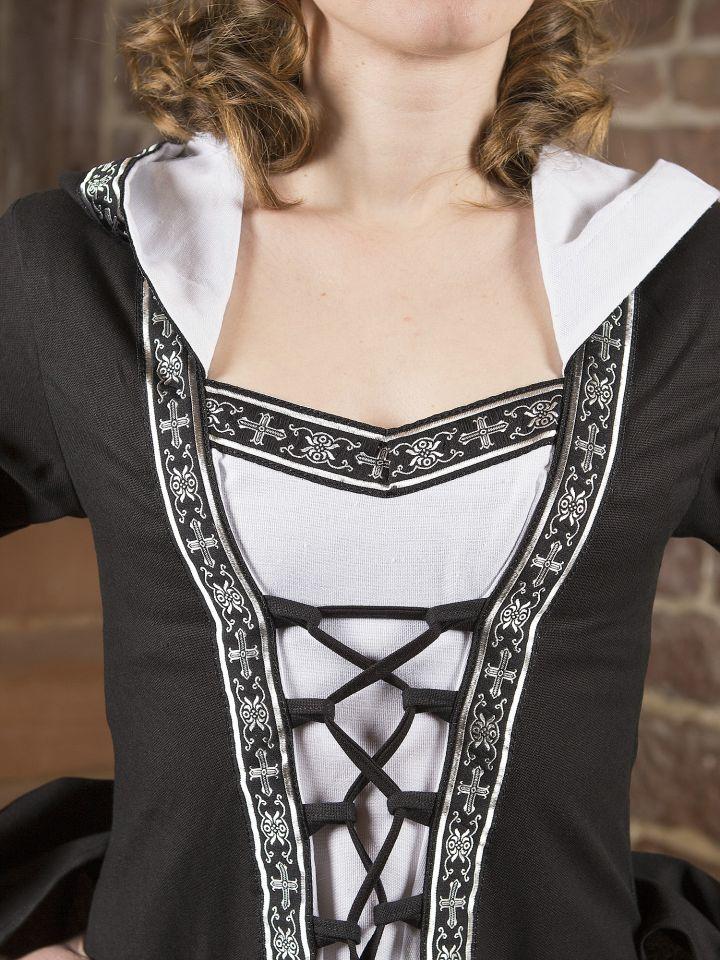Mittelalterkleid Brida in schwarz-weiß 2